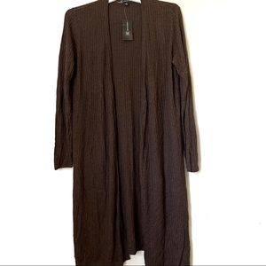 INC Women's Ribbed Duster Cardigan Size M Brown